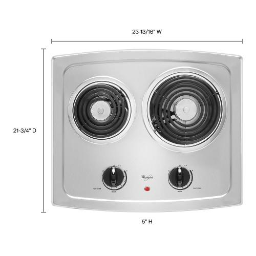Whirlpool - 21-inch Electric Cooktop with Stainless Steel Surface