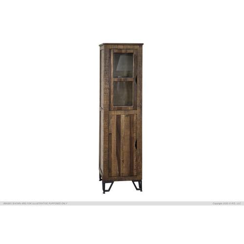"""1 Wooden Door & 1 Glass Door, 70"""" Bookcase Cabinet"""