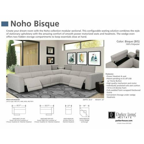 Parker House - NOHO - BISQUE Power Right Arm Facing Loveseat