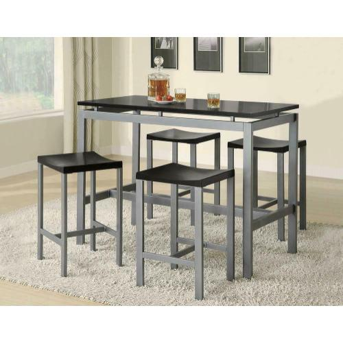 See Details - Casual Black and Silver Metal Five Piece Dining Set