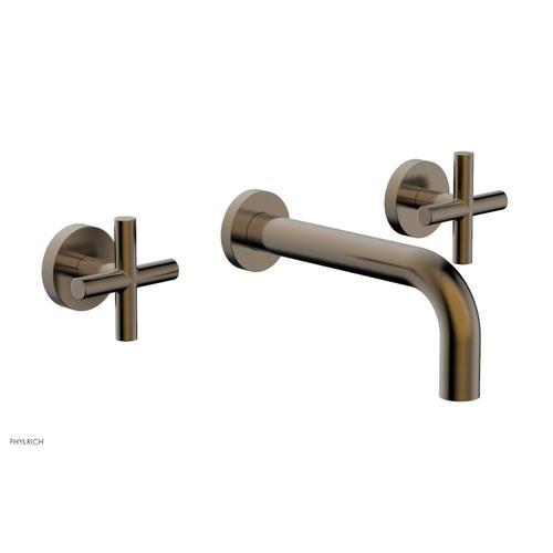 "Phylrich - TRANSITION - Wall Lavatory Set 7 1/2"" Spout - Cross Handles 120-11 - Antique Brass"