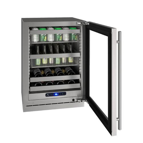 "U-Line - Hbv524 24"" Beverage Center With Stainless Frame Finish and Field Reversible Door Swing (115 V/60 Hz Volts /60 Hz Hz)"