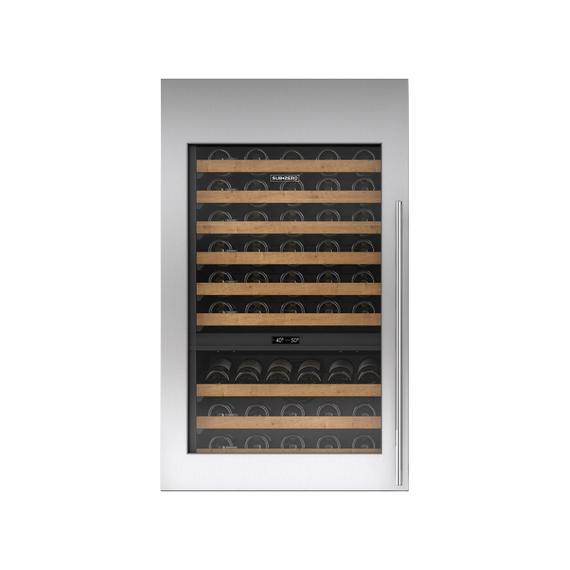 Sub-Zero - Stainless Steel Tall Wine Storage Door Panel with Tubular Handle - Right Hinge