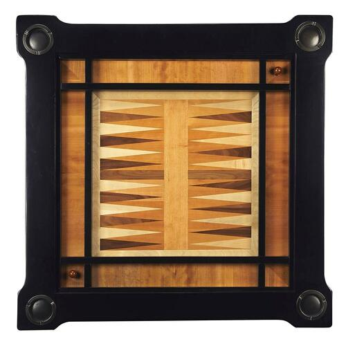 Play a variety of games on this stylish table that is veneered with basswood. The top inset has a game board for chess and checkers. Flip the inset over and it converts to a green felt-lined blackjack table. Remove the insert altogether and the well benea