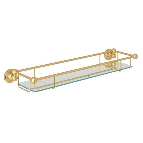 English Gold Perrin & Rowe Edwardian Wall Mount Tempered Glass Vanity Shelf