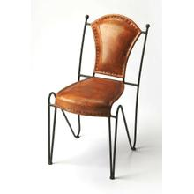 See Details - With a nimble base providing contrast to an ample, top stitched leather seat and back, this side chair is a stylish addition to the dining room or office. Its fluid form will fit in any modern aesthetic.