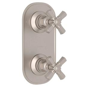 San Giovanni Trim for 1/2 Inch Thermostatic and Diverter Control Rough Valve - Satin Nickel with Cross Handle