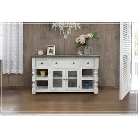 """See Details - 60"""" TV Stand w/ 3 Drawer & 2 Glass Doors Stone"""