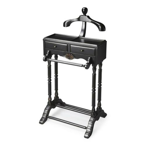 Butler Specialty Company - This elegant valet is a must for anyone with a flair for fashion. Hand crafted from solid hardwood, it features a scuptured wood hanger, ideal for a jacket, shirt or blouse; pants hanger, two drawers with antique brass finsihed hardware; and a top storage shelf.