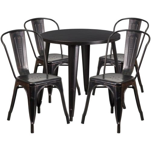 30'' Round Black-Antique Gold Metal Indoor-Outdoor Table Set with 4 Cafe Chairs