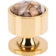 View Product - FireSky Mohave Yellow Knob 1 1/8 Inch Polished Brass Base Polished Brass