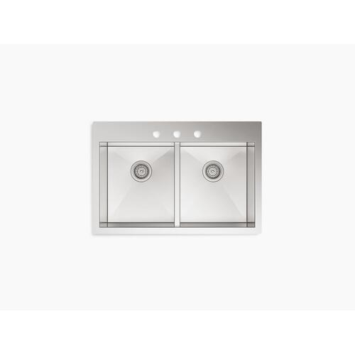 """33"""" X 22"""" X 9-5/16"""" Top-mount/undermount Double-equal Bowl Kitchen Sink With 3 Faucet Holes"""
