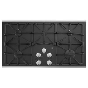 "GEGE® 36"" Built-In Gas on Glass Cooktop with 5 Burners and Dishwasher Safe Grates"