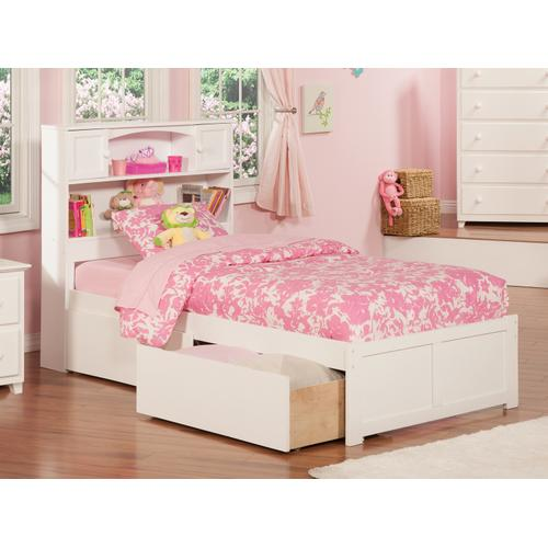 Newport Twin XL Flat Panel Foot Board with 2 Urban Bed Drawers White
