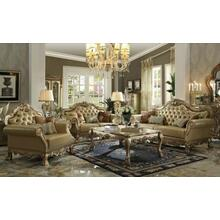 ACME Dresden Sofa w/4 Pillows - 53160 - Bone PU & Gold Patina