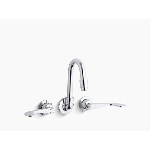 Polished Chrome Shelf-back Double Wristblade Lever Handle Sink Faucet