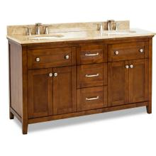 "60"" double Chocolate Brown vanity with Satin Nickel hardware, Shaker style, and preassembled Emperador Light Quartz top and 2 oval bowls"
