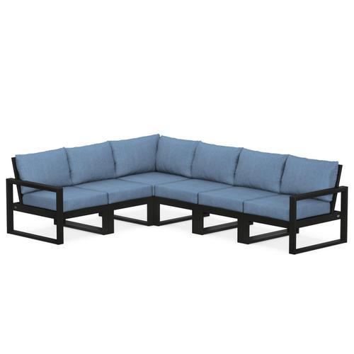 Polywood Furnishings - EDGE 6-Piece Modular Deep Seating Set in Black / Sky Blue