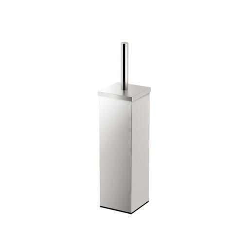 Square Modern Toilet Brush Holder in Satin Nickel