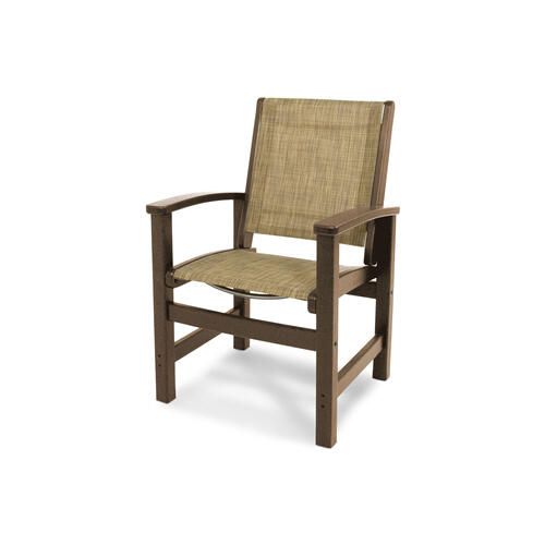 Teak & Burlap Coastal Dining Chair