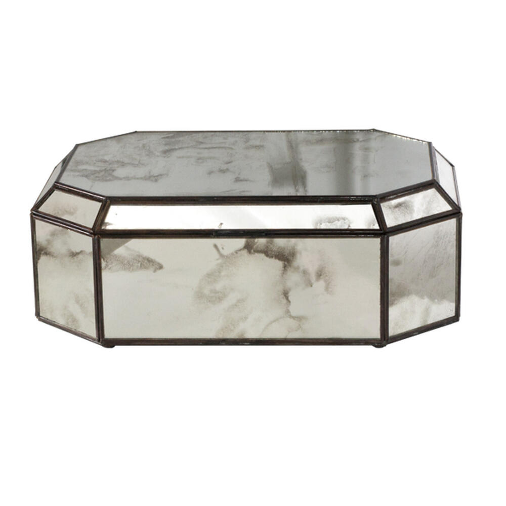 Create A Stunning Display With This Hinged, Octagonal Antique Mirror Box With Antique Brass Border. Perfect When Displayed as A Standalone Accent, or Group With Our Different Sized Glass Boxes as A Showcase for Jewelry or Other Collectibles.