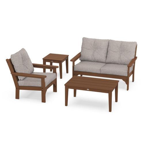 Vineyard 4-Piece Deep Seating Set in Teak / Weathered Tweed