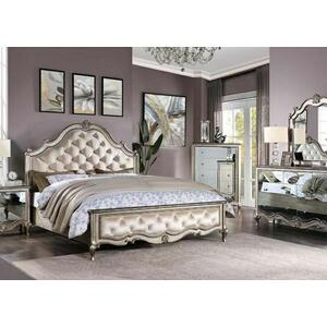 ACME Esteban California King Bed - 22194CK - Glam - Velvet, Wood (Poplar), Poly-Resin, MDF, PB - Velvet and Antique Champagne