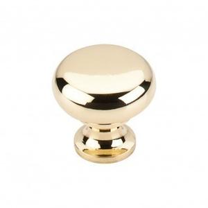 Flat Faced Knob 1 1/4 Inch - Polished Brass