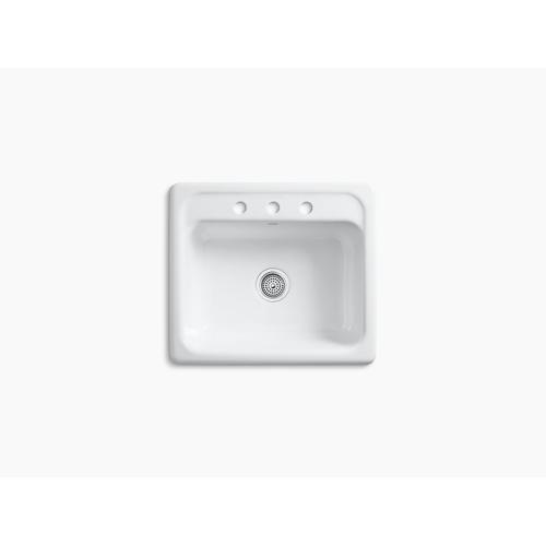 """Biscuit 25"""" X 22"""" X 8-3/4"""" Top-mount Single-bowl Kitchen Sink With 3 Faucet Holes"""