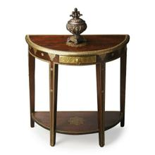 See Details - This magnificent demilune features intricately hand-applied gold foil on legs, base and top, covering the entire drawer front. Note also the stunning lotus leaf on the tabletop. Crafted from mango wood solids in the Espresso finish.