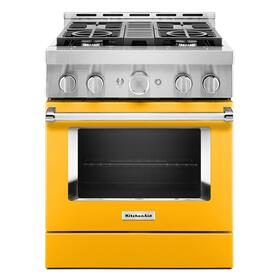 KitchenAid® 30'' Smart Commercial-Style Gas Range with 4 Burners Yellow Pepper