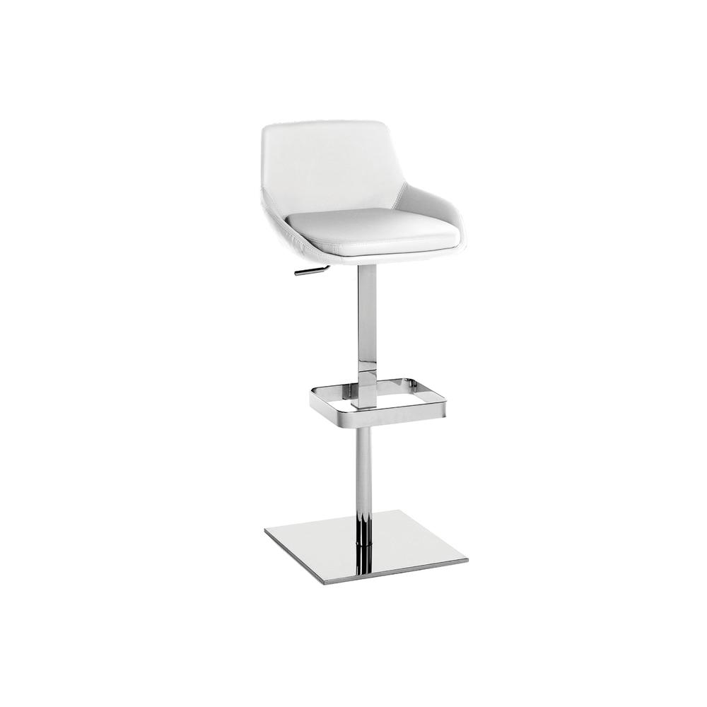 The Laura Adjustable Bar Stool In White Pu-leather With Chrome Plated Base