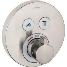 Brushed Nickel Thermostatic Trim for 2 Functions, Round