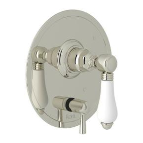 Pressure Balance Trim with Diverter - Polished Nickel with White Porcelain Lever Handle
