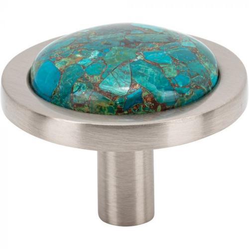 Vesta Fine Hardware - FireSky Mohave Blue Knob 1 9/16 Inch Brushed Satin Nickel Base Brushed Satin Nickel