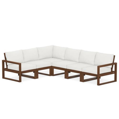 Polywood Furnishings - EDGE 6-Piece Modular Deep Seating Set in Teak / Natural Linen