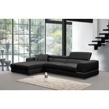 Divani Casa Pella Mini Modern Black Leather Sectional Sofa