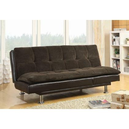 See Details - Contemporary Overstuffed Brown and Chrome Sofa Bed