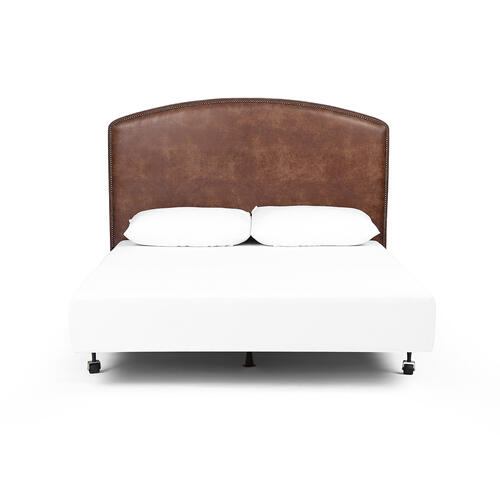 King Size Vintage Tobacco Cover Surry Curved Headboard