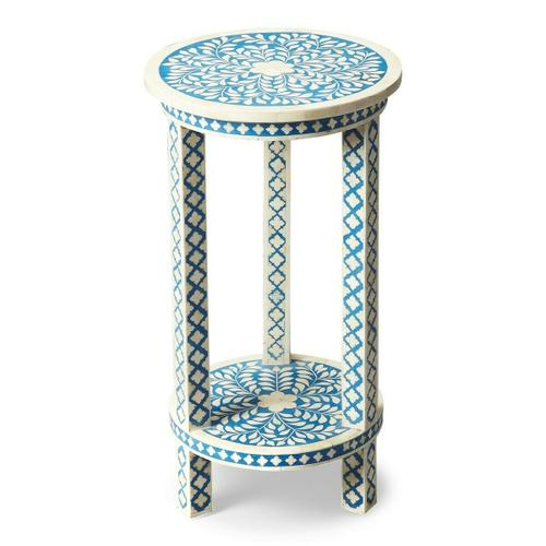 This table is fit for a Moroccan princess, for your favorite powder room, guest room or relaxing corner! This Blue Bone inlay accent table has a beautifully intricate design with graceful round shape and hand inlay craftsmanship on aprons, uprights, shelf and table top. Truly a uncommon piece of art.