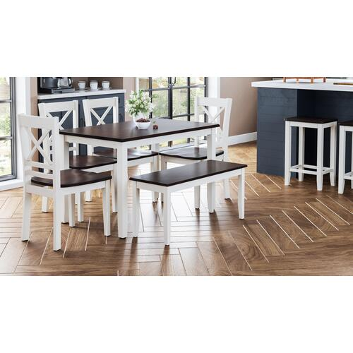 Jofran - Asbury Park Table With 2 Chairs and Bench White /autumn