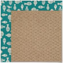 "Creative Concepts-Raffia Go Fish Turquoise - Rectangle - 24"" x 36"""