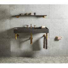 "Elemental Accessory Shelf Aged Brass / Antique Gray Limestone / 36"""