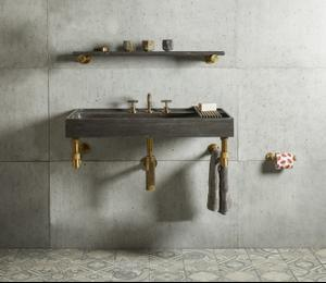 "Elemental Accessory Shelf Aged Brass / Antique Gray Limestone / 36"" Product Image"