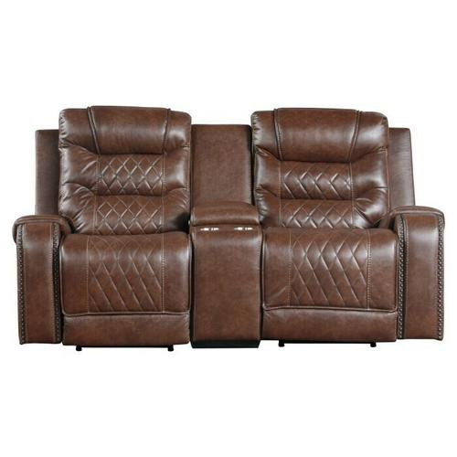 Homelegance - Power Double Reclining Love Seat with Center Console, Receptacles and USB port
