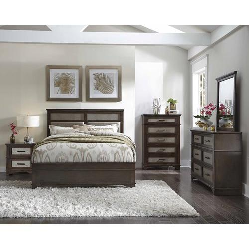 5/0 Queen Panel Bed - Chocolate/Champagne Finish
