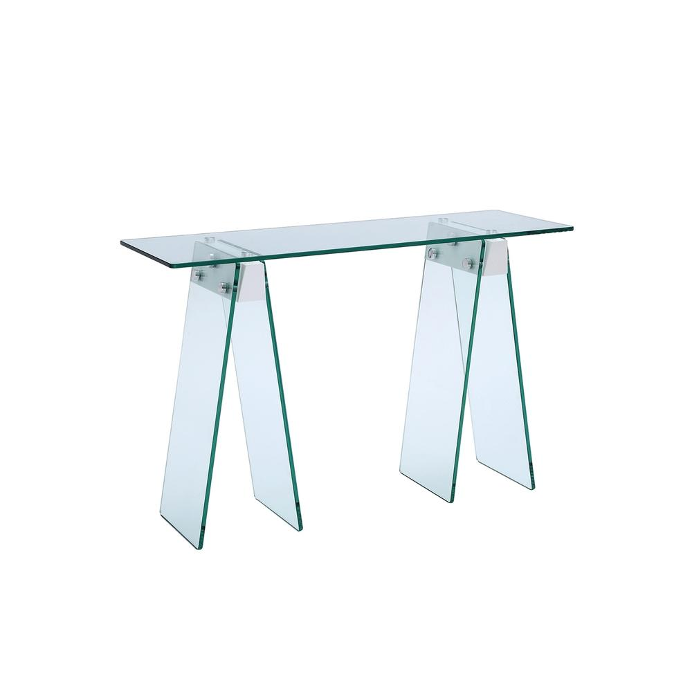The Jetta Console Table In Clear Glass With High Gloss White Lacquer
