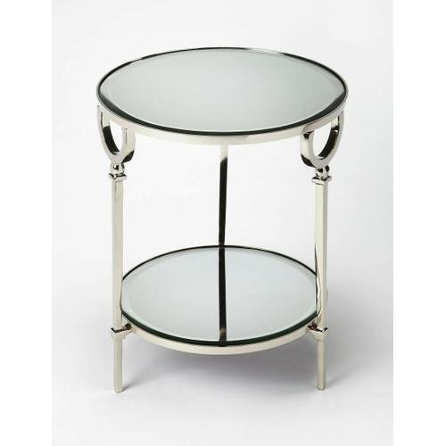Butler Specialty Company - Add this stunning round end table in the living room, bedroom, or office for a glamorous modern design statement. Featuring a polished aluminum base, its tapered legs rise to support a beveled mirrored glass top and bottom display shelf.