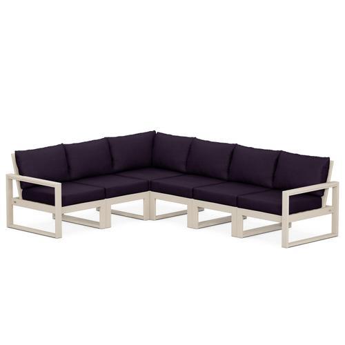 Polywood Furnishings - EDGE 6-Piece Modular Deep Seating Set in Sand / Navy Linen