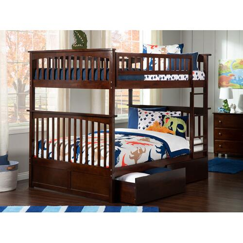 Atlantic Furniture - Columbia Bunk Bed Full over Full with Urban Bed Drawers in Walnut